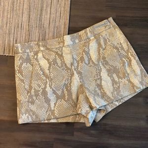 French connection gold snake print shorts